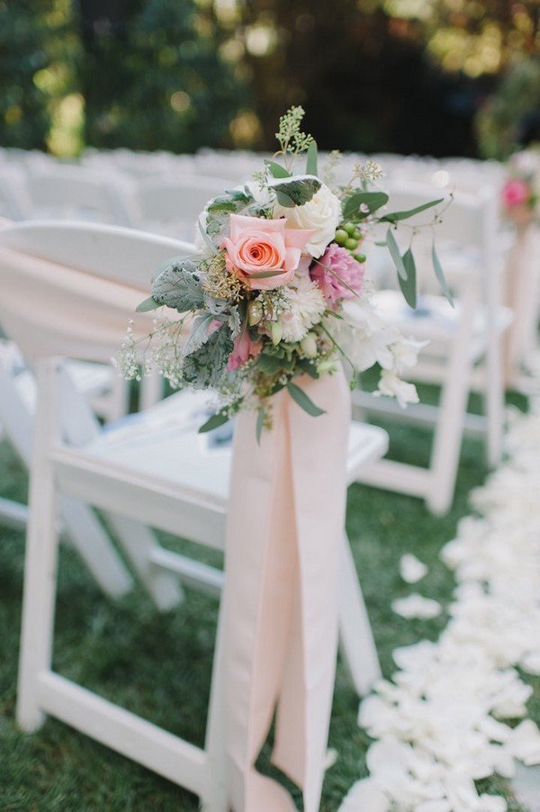 wedding ceremony chair decoration ideas with flowers