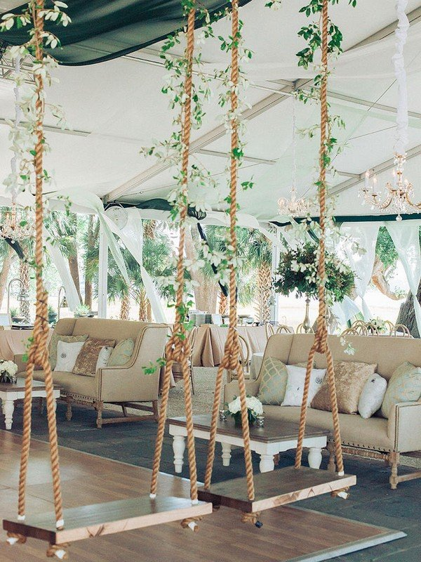 whimsical tented wedding reception ideas with swings