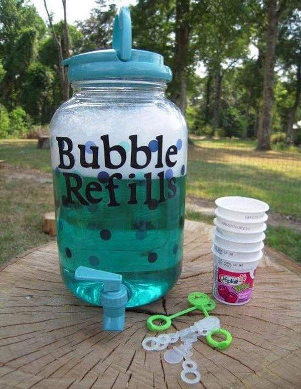 Bubble Refills Recipe for wedding kids table ideas
