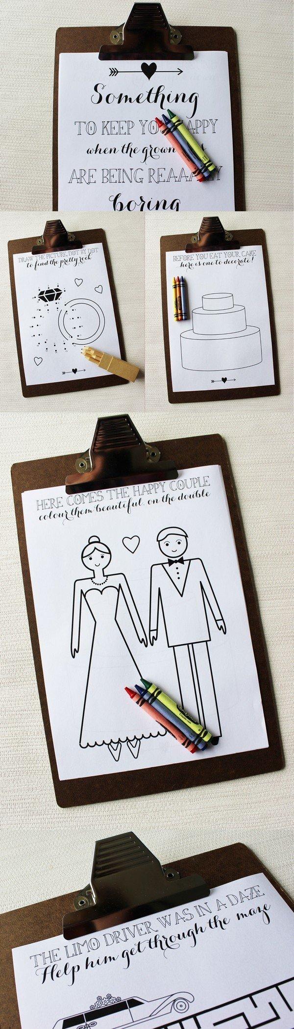 Children Activity Book for wedding reception ideas