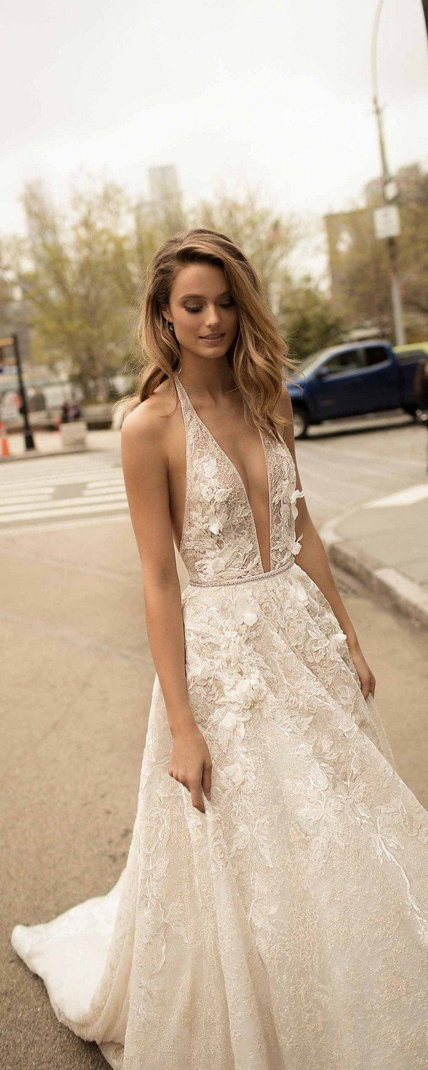 berta deep v neeck 2018 wedding dresses with gorgeous floral details 18-1