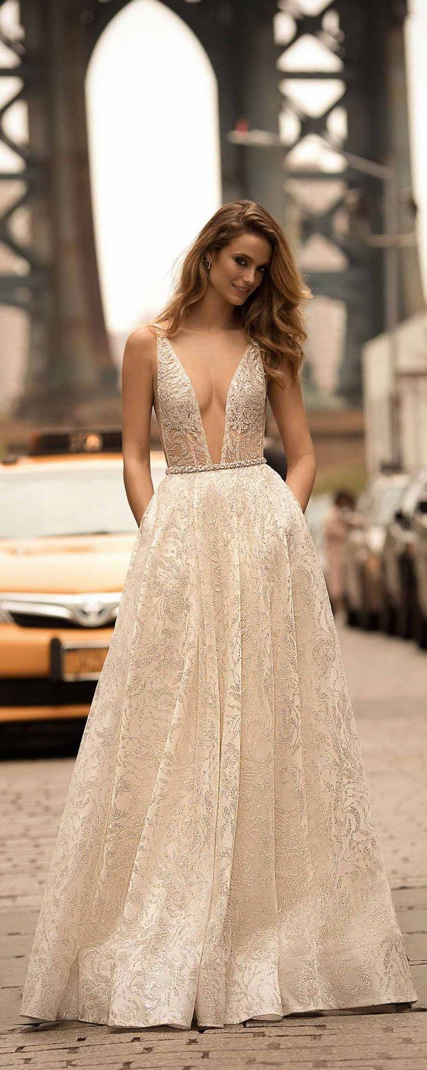 berta sequins deep v neck wedding dresses spring 2018 collection 18-3