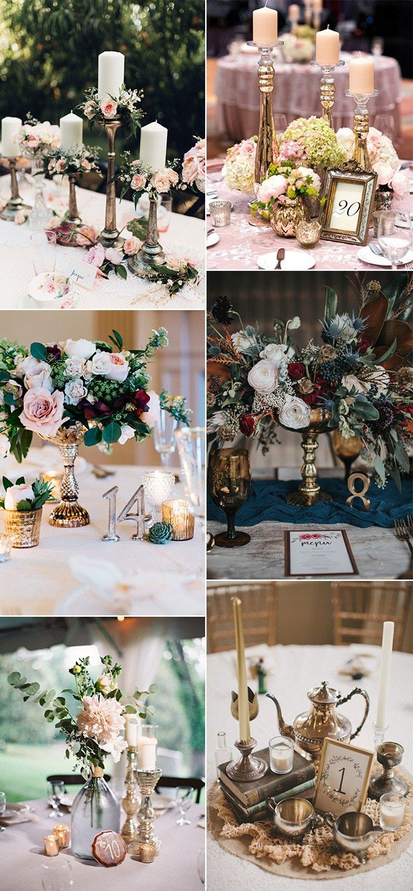 candle sticks inspired vintage wedding centerpiece ideas