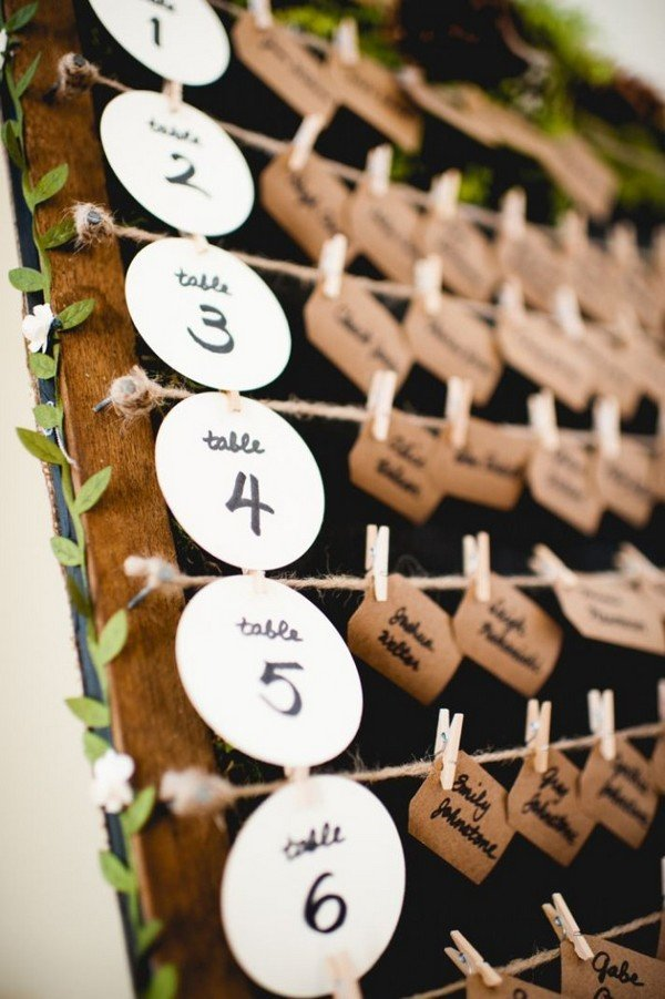 chic rustic wedding escort card display ideas