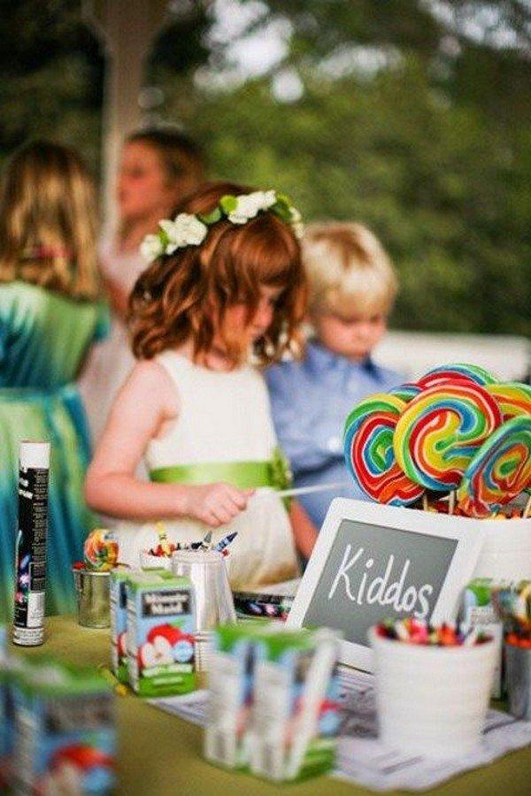 creative candy bar wedding kids table ideas