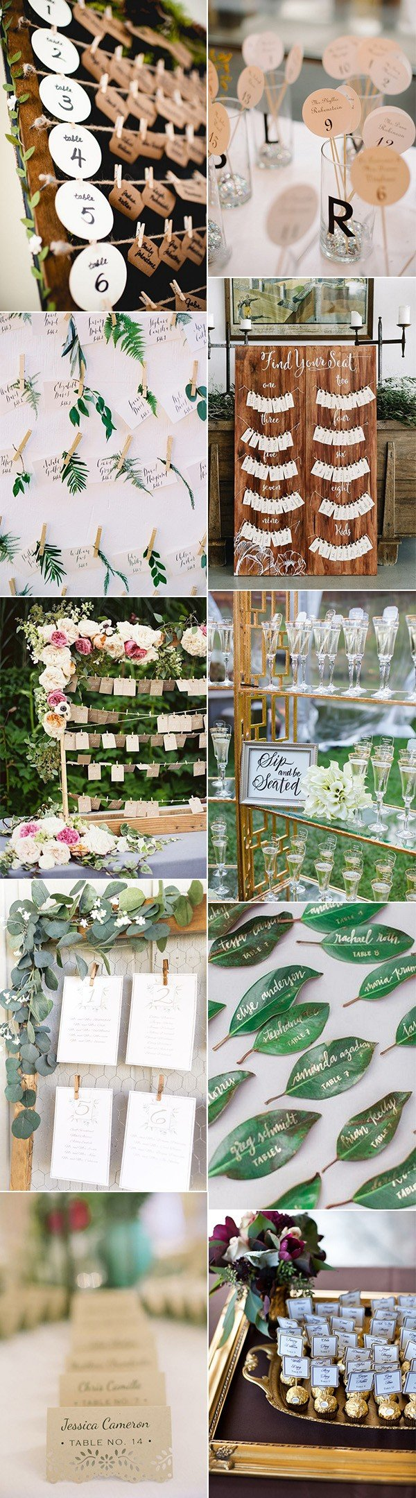 creative wedding escort card display ideas