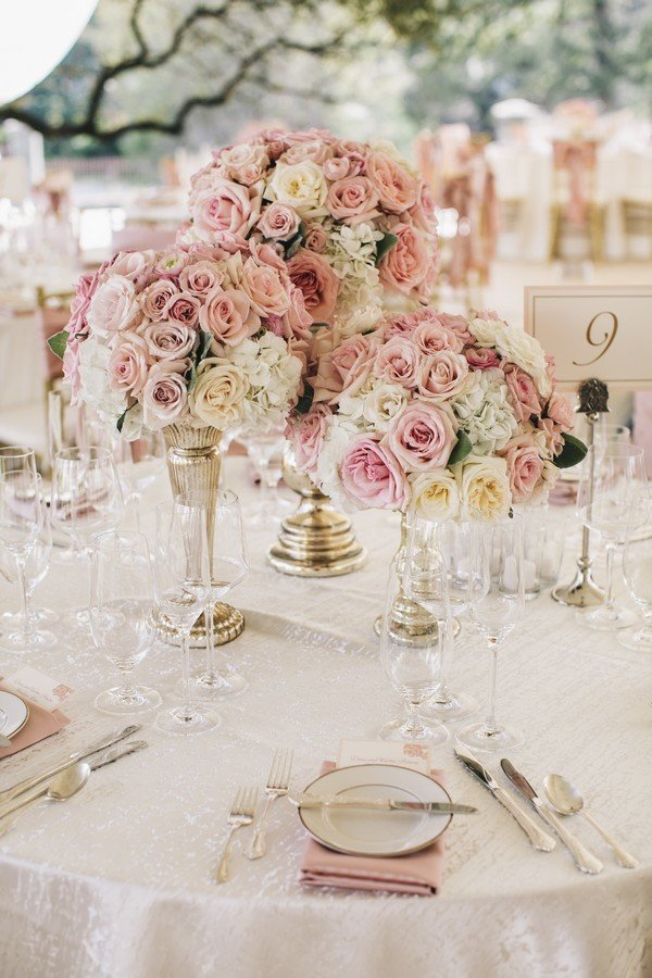 dusty rose and gold wedding centerpiece ideas