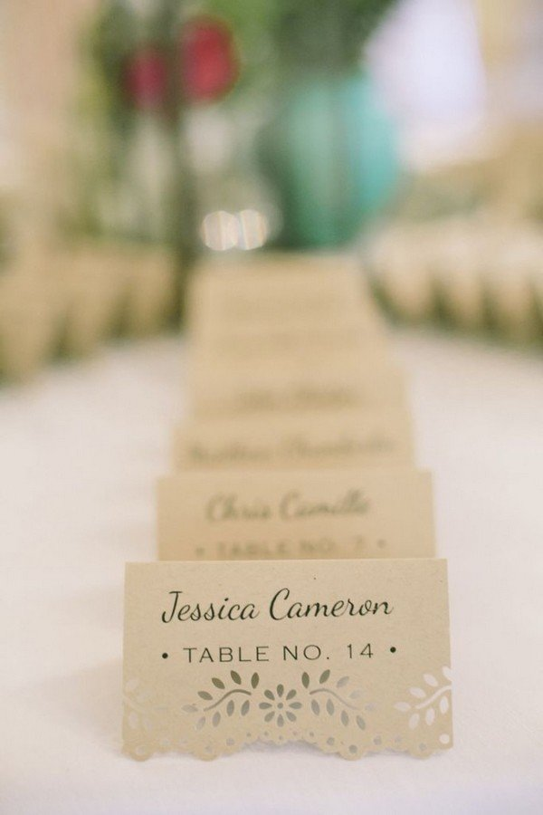 elegant laser cut wedding escort cards