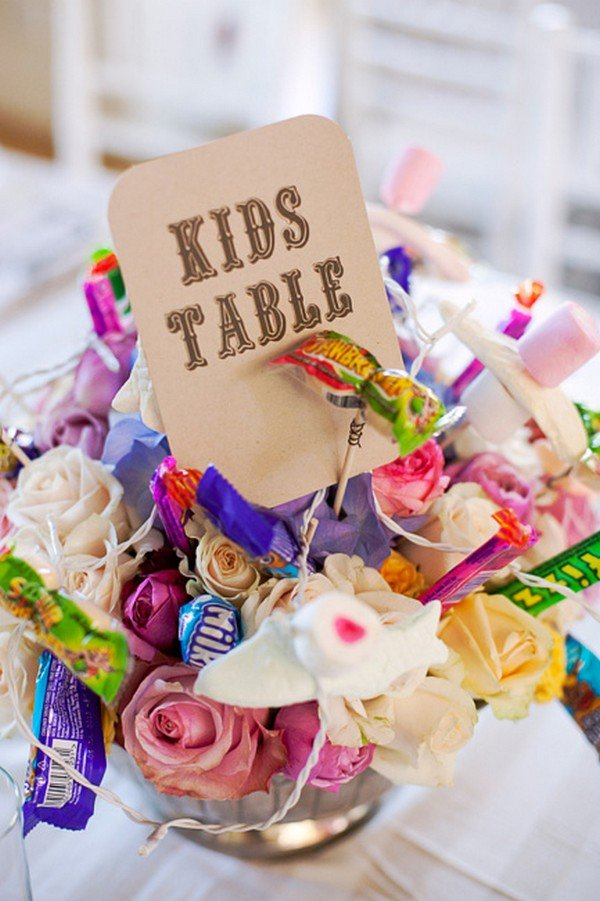 having candy in the flower arrangement wedding kids table ideas