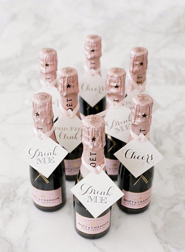 pink champagne wedding favor ideas