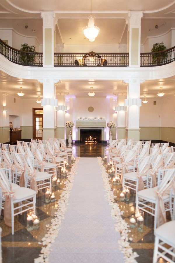 romantic wedding aisle runner decoration ideas with pink floral