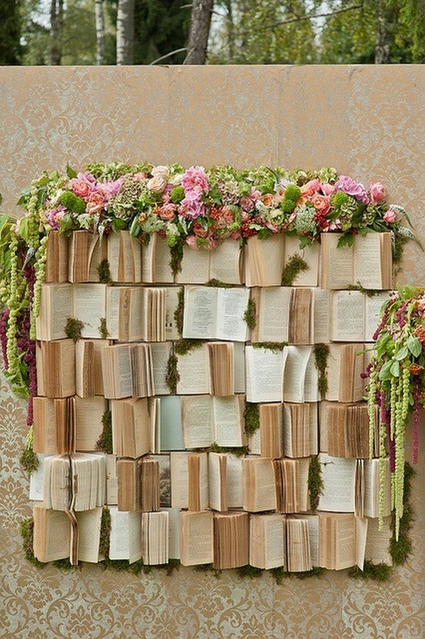 unique vintage wedding backdrops with books