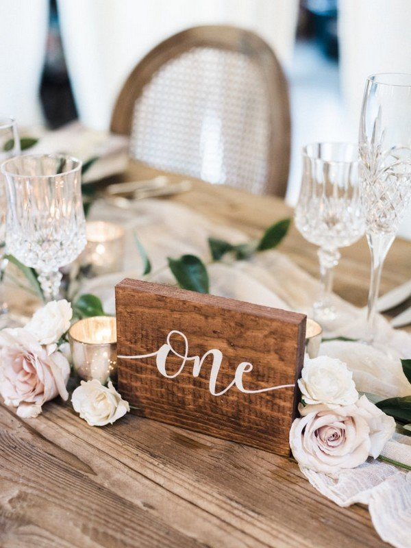 Wooden hand-calligraphed chic rustic wedding table number ideas