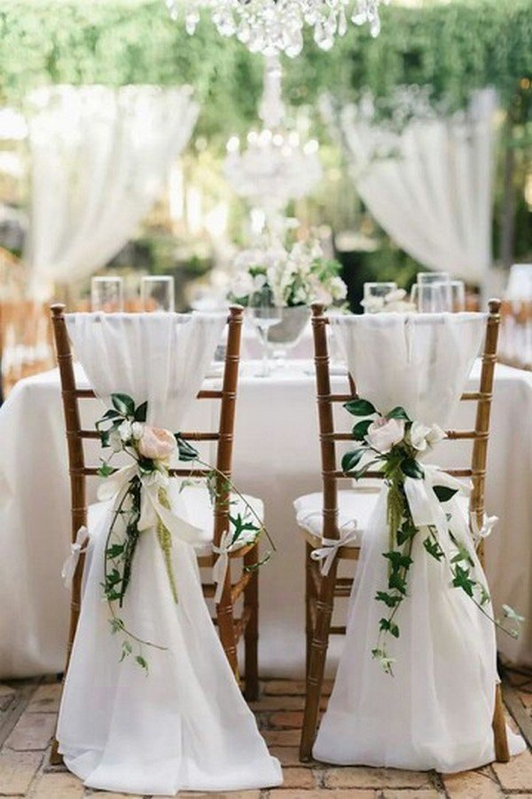 bride and groom wedding chair decorations