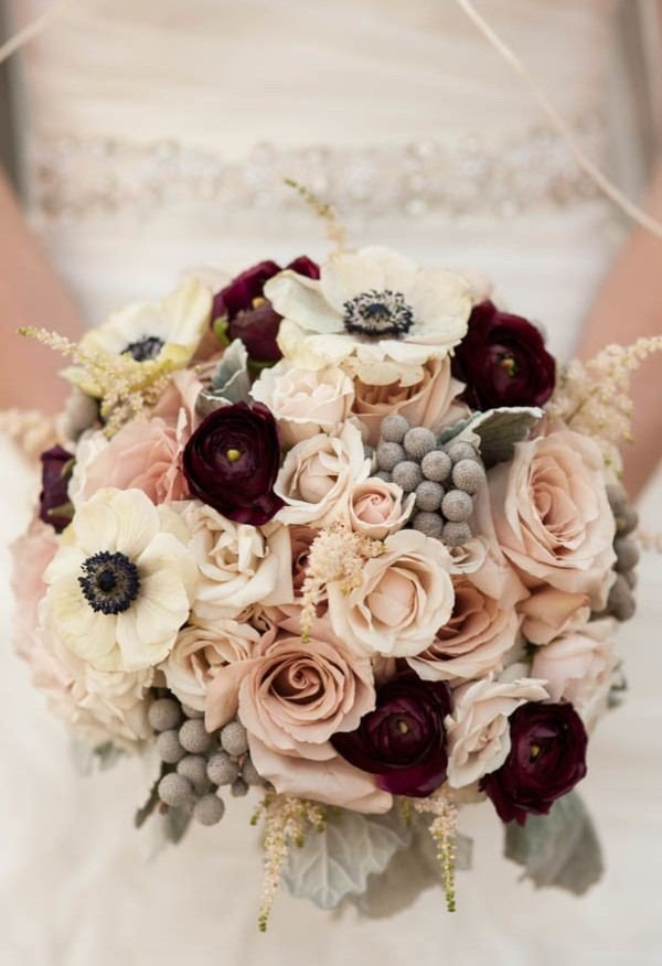 burgundy and blush wedding bouquet for winter weddings