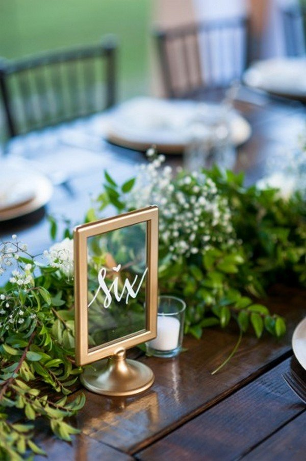 chic gold frame wedding table number ideas