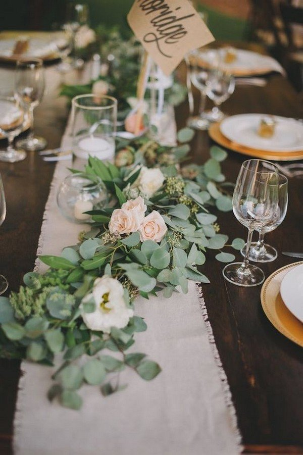 chic vintage greenery wedding centerpieces