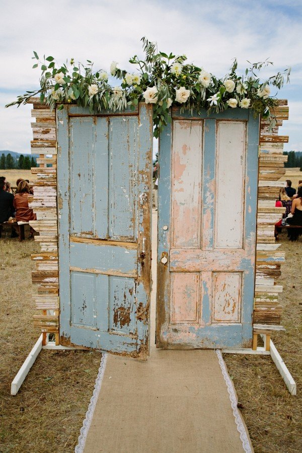 chic vintage wedding entrance door