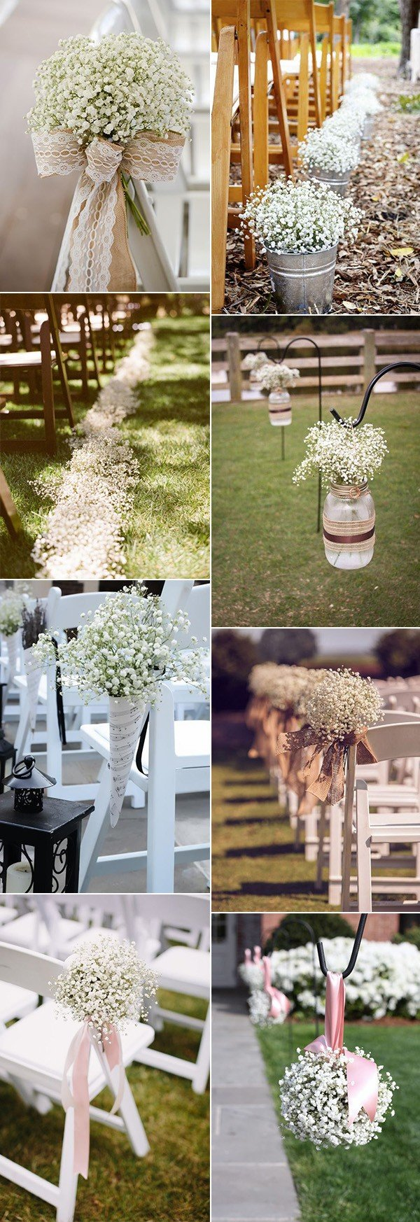chic wedding aisle decoration ideas with baby's breath