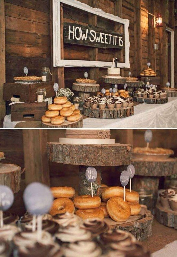 country rustic wedding donut dessert table bar ideas