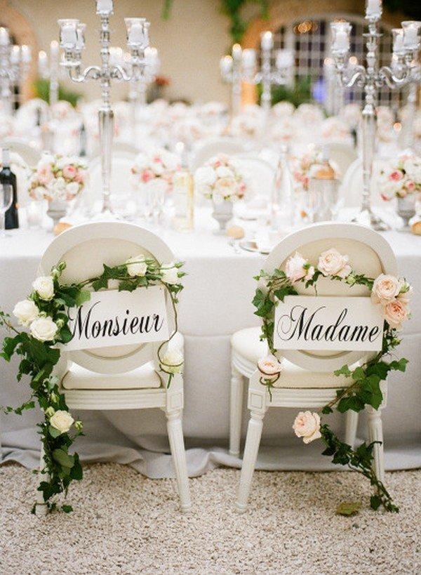 elegant wedding bride and groom chair decoration ideas