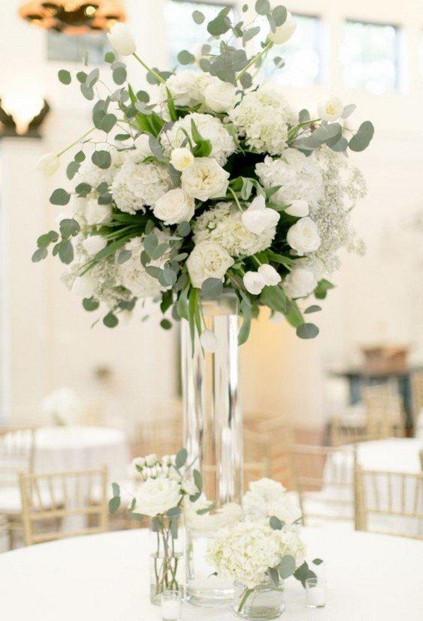 elegant white and green tall wedding centerpiece