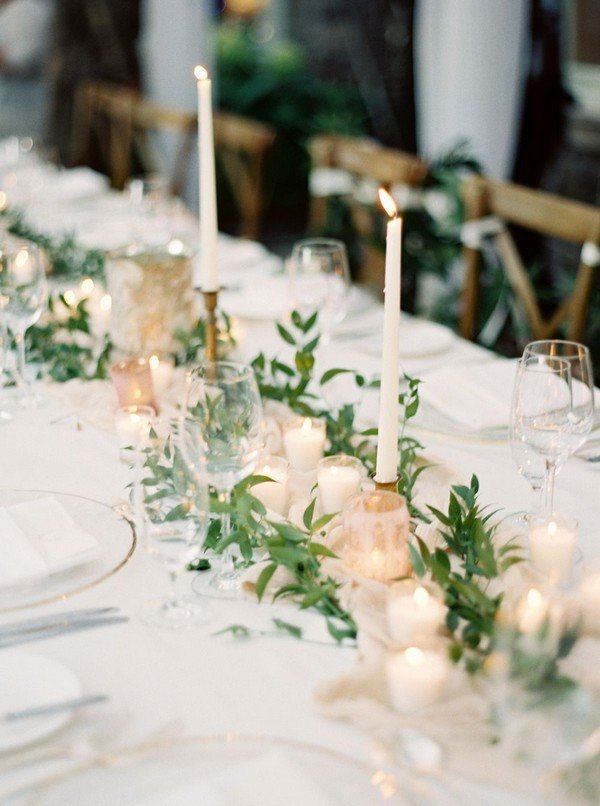 greenery chic wedding centerpiece ideas