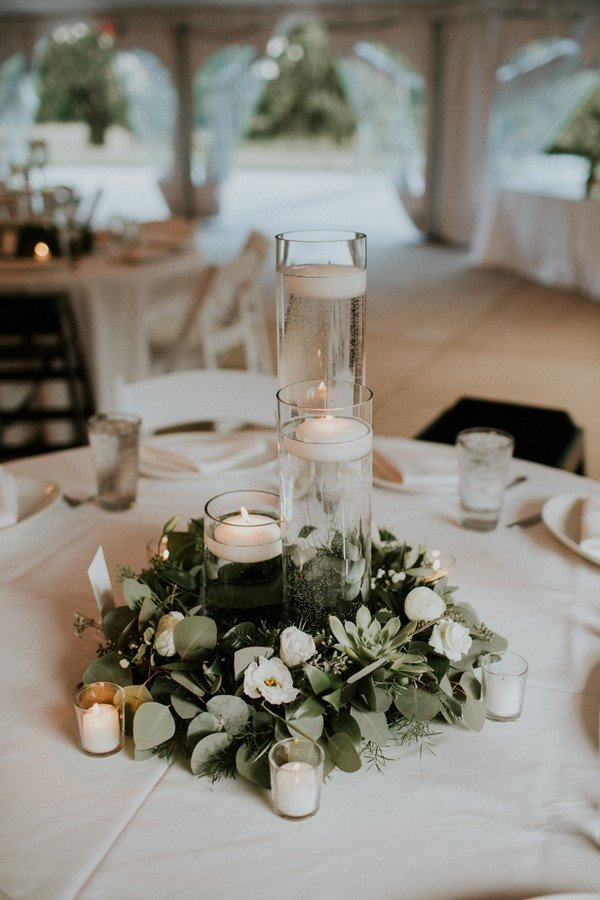 greenery wedding centerpiece ideas with candles