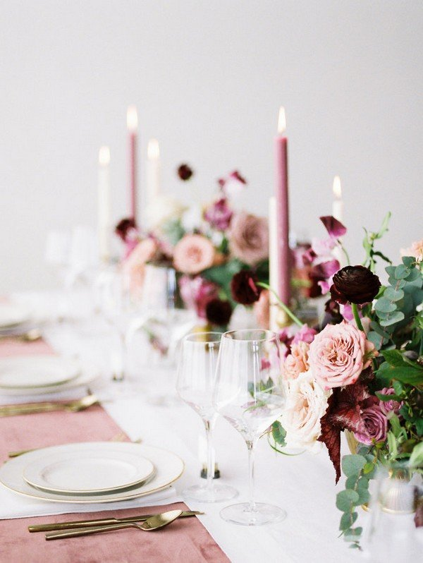 mauve shades of purple wedding table setting ideas