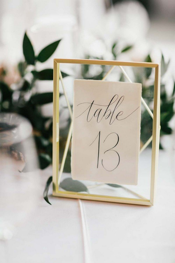 modern calligraphy simple wedding table number ideas