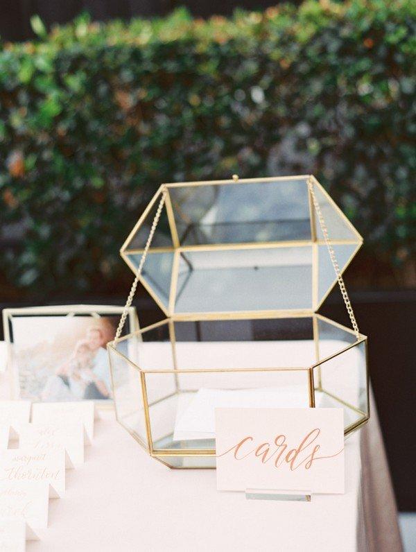 modern glam glass gold framed wedding card box ideas