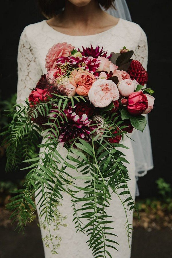 pretty burgundy and blush wedding flowers