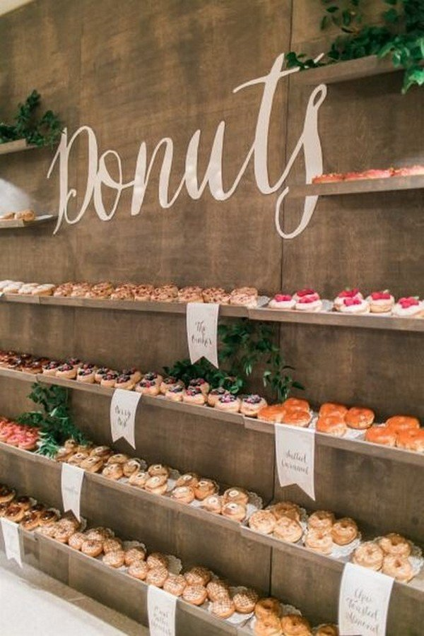 rustic weding dessert bar ideas with donut wall