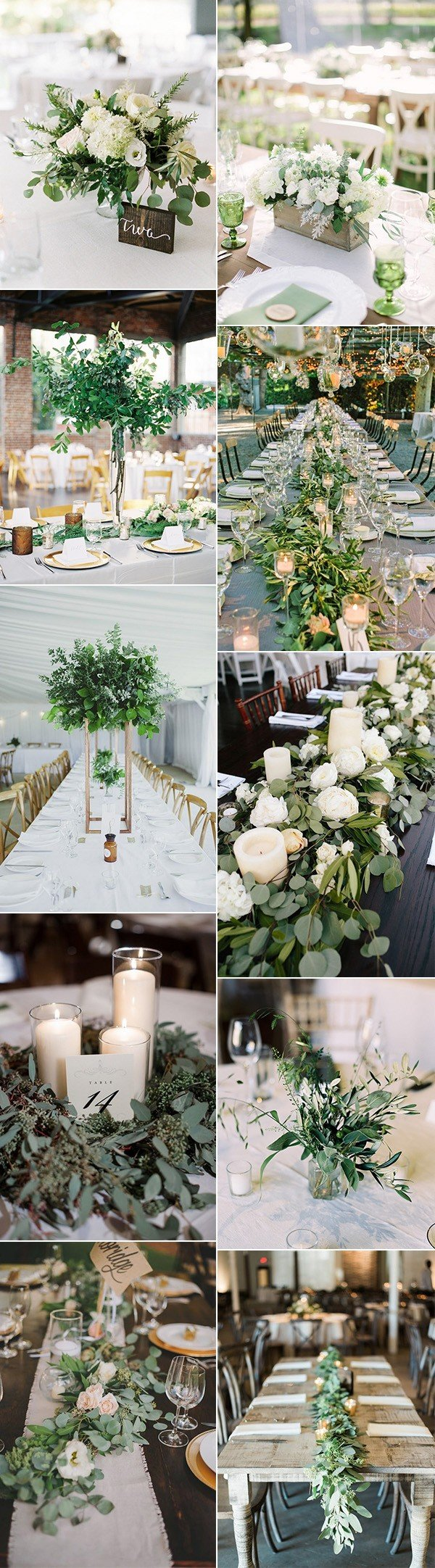 trending white and green wedding centerpiece ideas