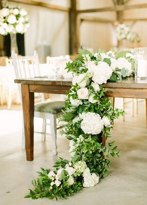 white and green long wedding table setting centerpiece ideas