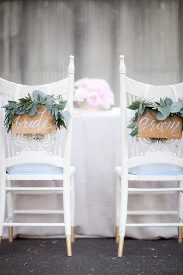 white and greenery chic bride and groom wedding chair ideas