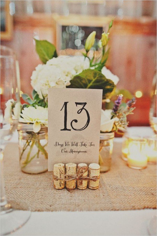 wine cork stand chic rustic wedding table number ideas