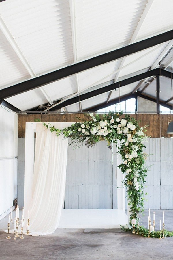Industrial Wedding Ceremony Ideas with Greenery Garlands and Ethereal Drapery