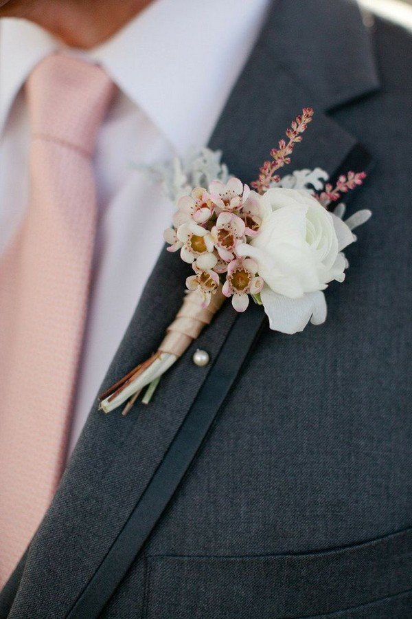 Pink Rose Gold Wedding Boutonniere Ideas