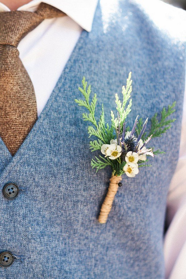 Rustic Wildflower Groomsmen Wedding Boutonnière