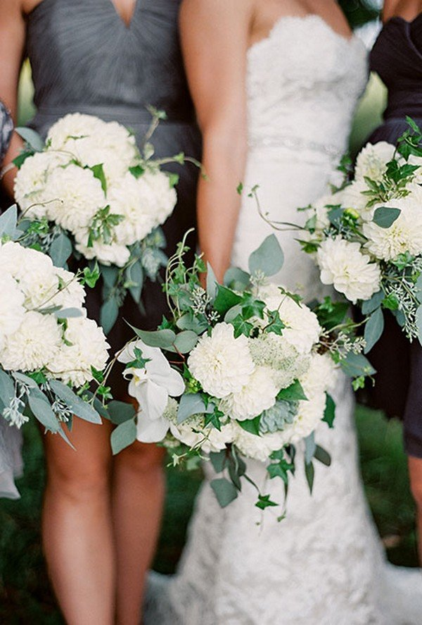 White Hydrangea Wedding Bouquet With Eucalyptus and Ivy for 2018 trends