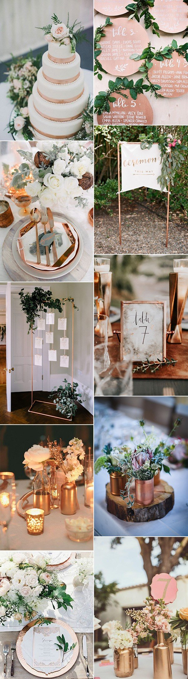 chic metallic bronze and copper wedding color ideas