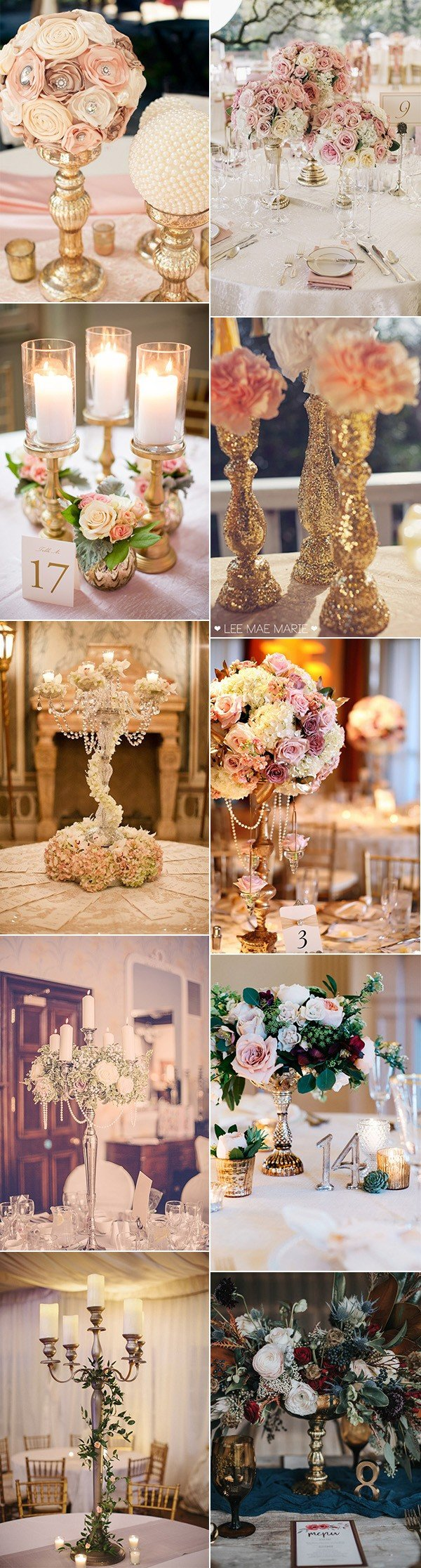 chic vintage wedding centerpieces with candlesticks
