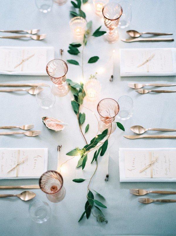 copper and green wedding reception ideas