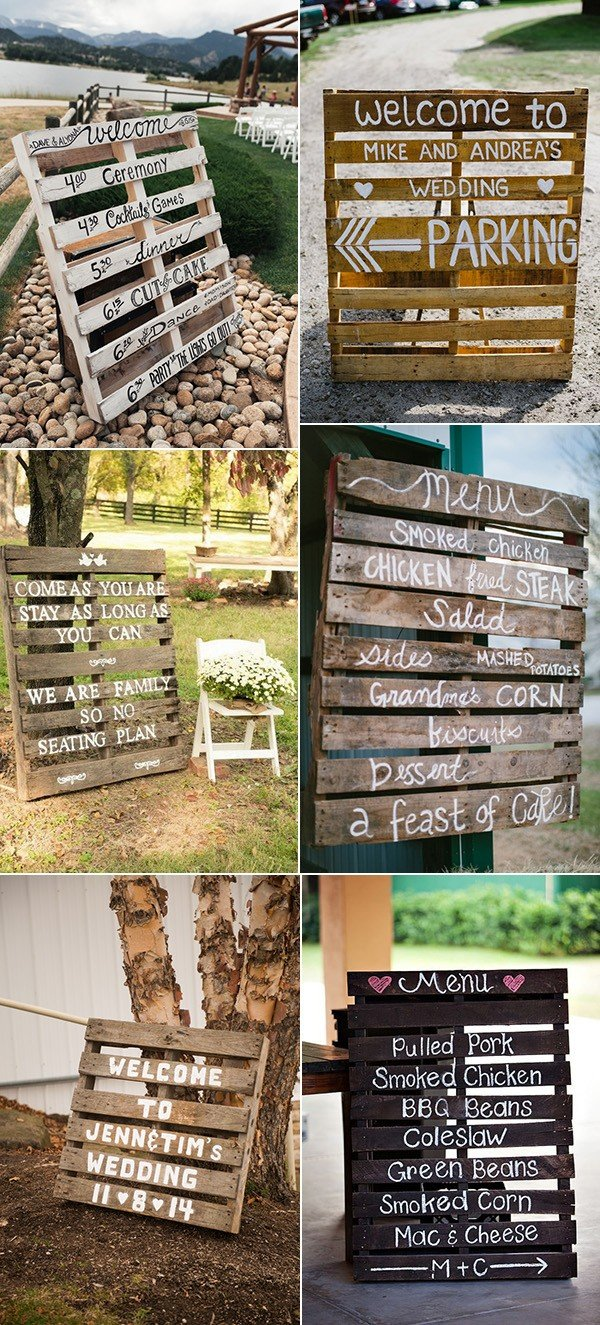 country rustic wood pallet wedding sign ideas