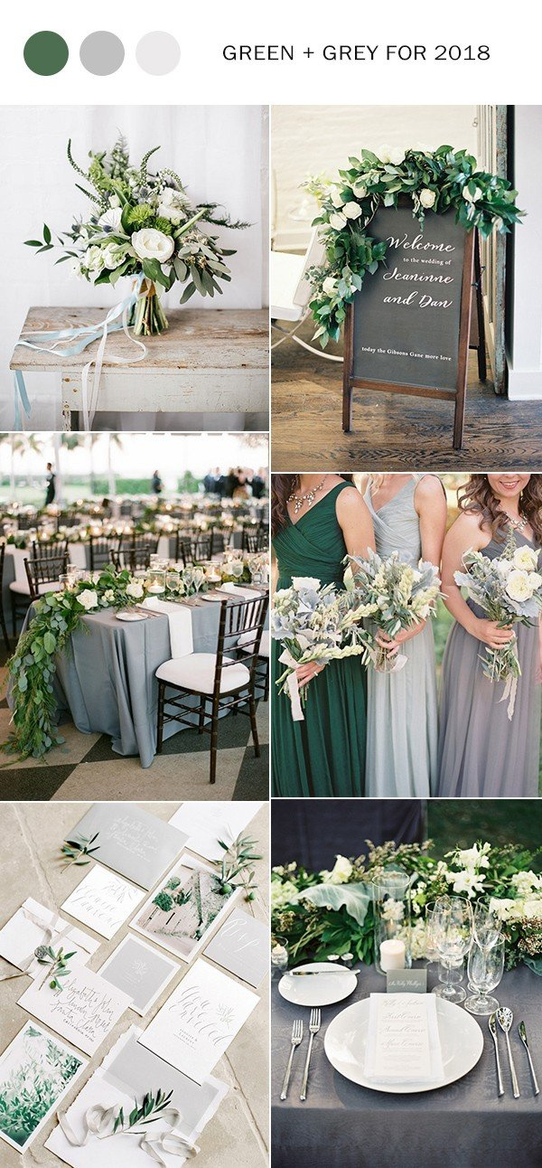 Elegant Green And Grey Wedding Color Ideas For 2018