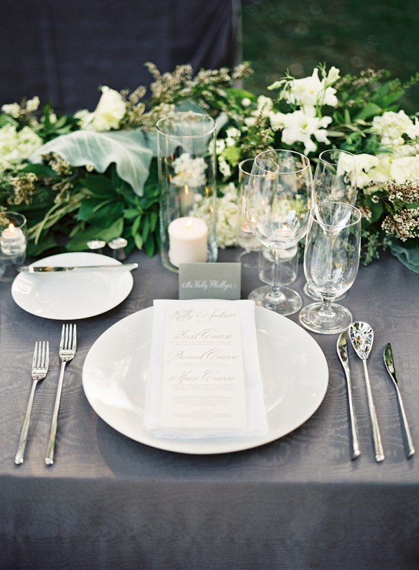 elegant greenery and grey wedding table setting ideas