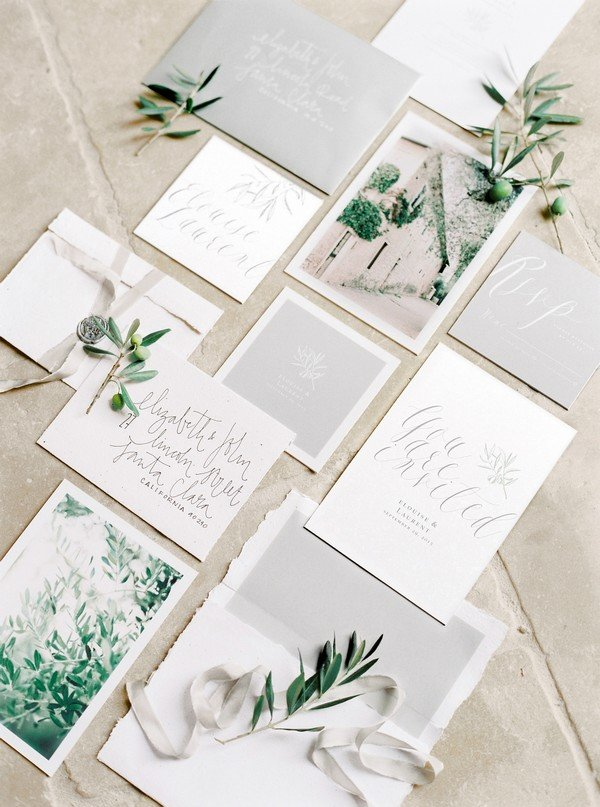 greenery and grey wedding invitations 2018 trends