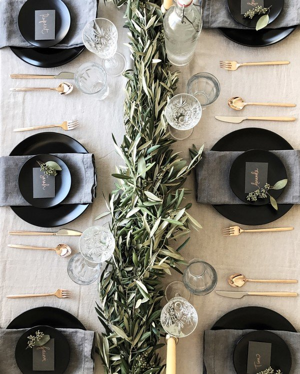greenery and grey wedding reception ideas