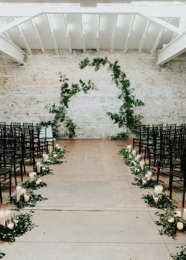 greenery chic wedding ceremony decoration ideas